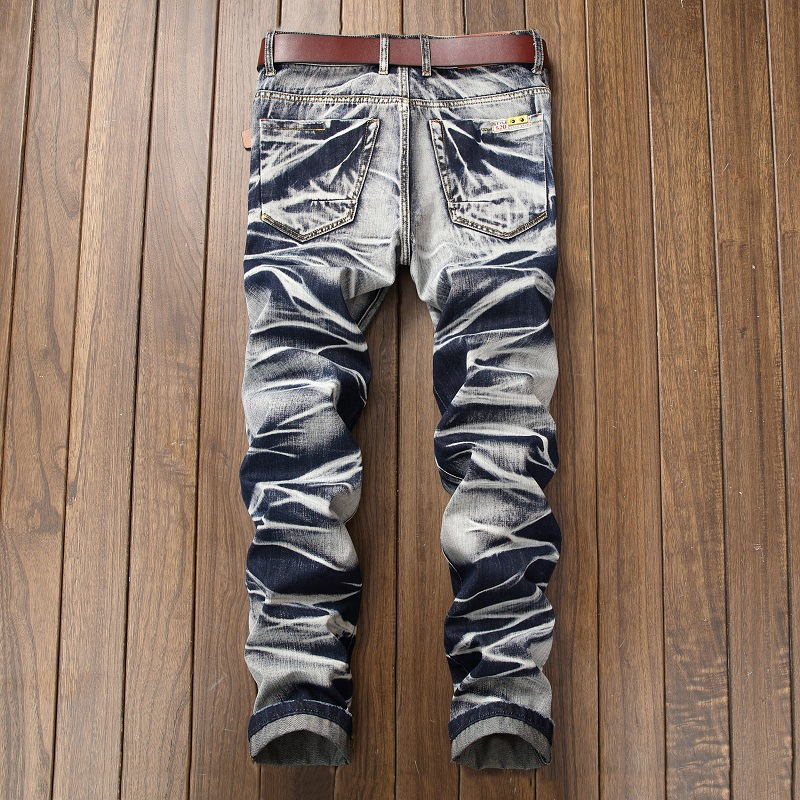 Slim Straight Pleated Biker Jeans