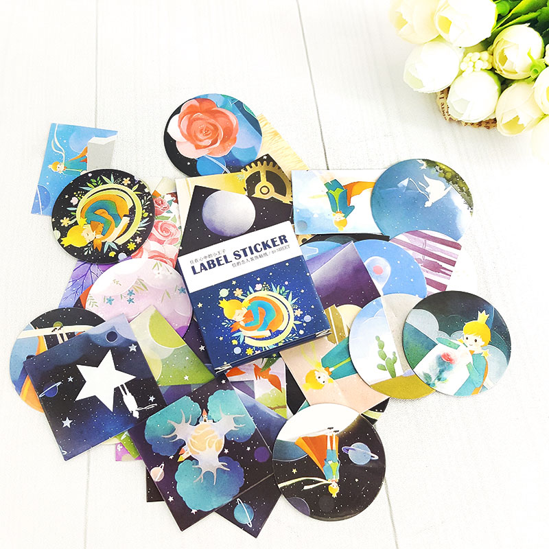 40 Pcs/box little prince Mini Paper Decoration DIY Scrapbook Notebook Album seal Sticker Stationery Kawaii Girl Sticker 45 pcs box classical chinese style stickers diy album adhesive paper scrapbook notebook decoration sticker stationery kids gifts