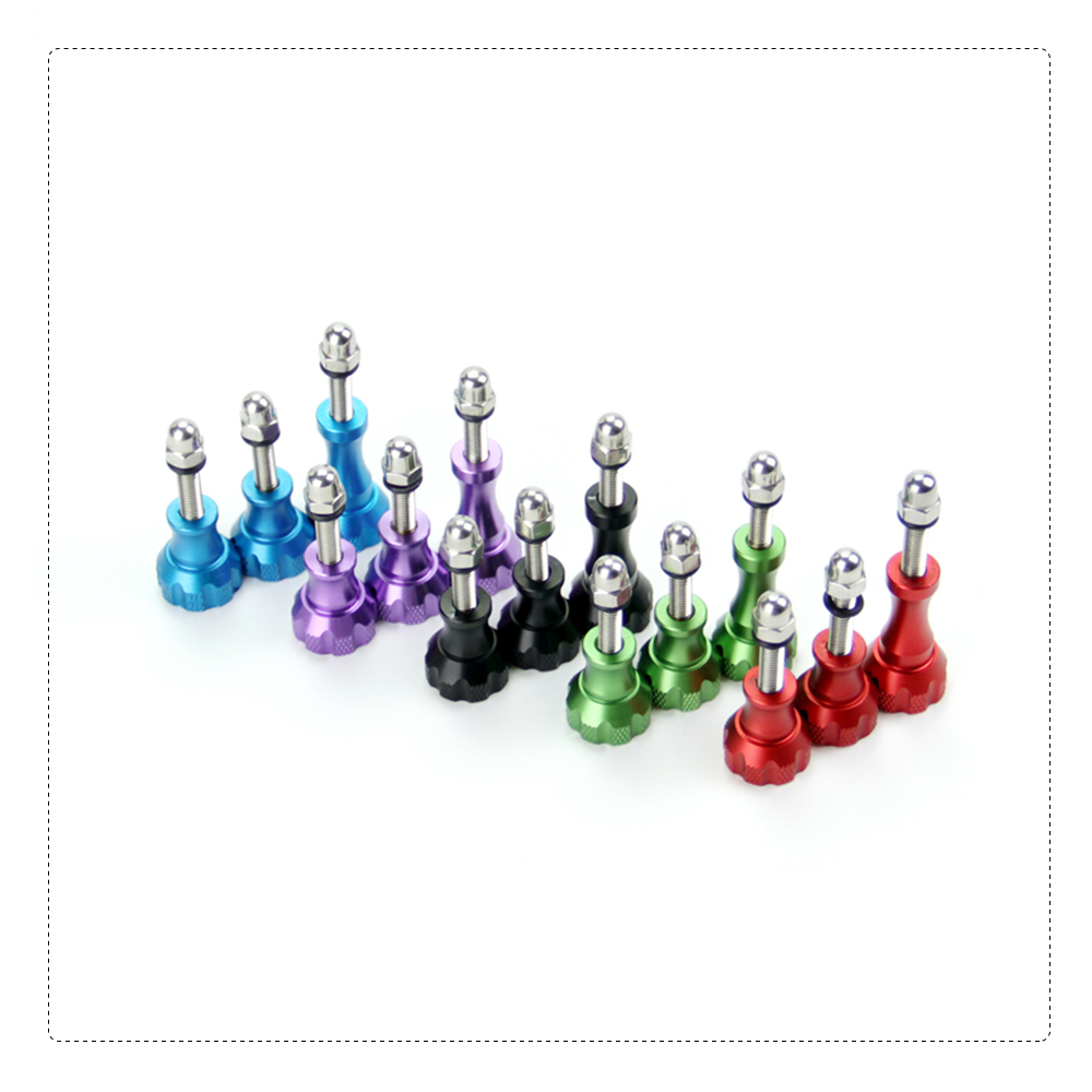 SnowHu For 1 Long 2 Short Colorful Thumb Knob Stainless Aluminum Bolt Nut Screw for Go Pro Hero 7 6 5 4 3 GP50 in Sports Camcorder Cases from Consumer Electronics