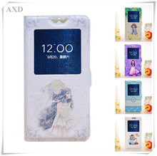 AXD Luxury Painted Cartoon Flip Cover For ZTE Blade V580 V6 V7 V8 Lite v7 Max L5 Plus L7 N1 Axon 7 mini Case With Window