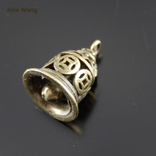 Julie Wang 5PCS Copper Bell Charms (No Sound) Antique Bronze Hollow Pendant Bracelet Handmade Fashion Jewelry Making Accessory