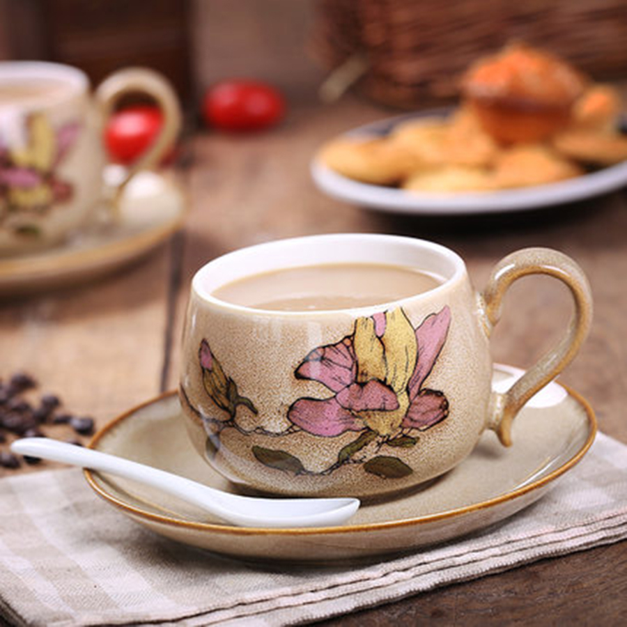 Elegant Vintage Coffee <font><b>Cup</b></font> Hand Painted Flower <font><b>Cup</b></font> Saucer China Tea Ceramic Vintage Beker Decoration Melody <font><b>Coffe</b></font> <font><b>Cup</b></font> 5B5041 image