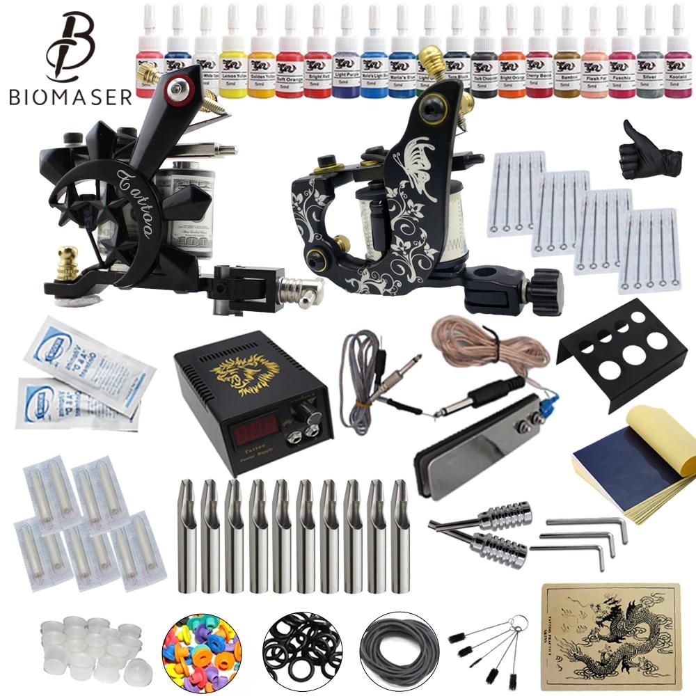 Complete Beginner Tattoo Starter Kits 2  Tattoo Machines Guns 20 Ink Sets Power Supply Needles Top Tattoo Ink Power Supplies complete tattoo kit 2 machines gun for starter power supply needles