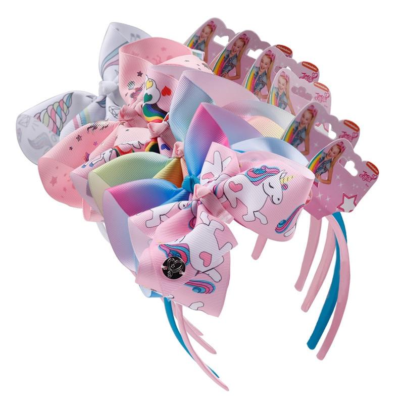 6  Hair BowS Fashion Cartoon Headband Boutique Rainbow Printed Handmade Ribbon Hairbands Children Girl Accessories