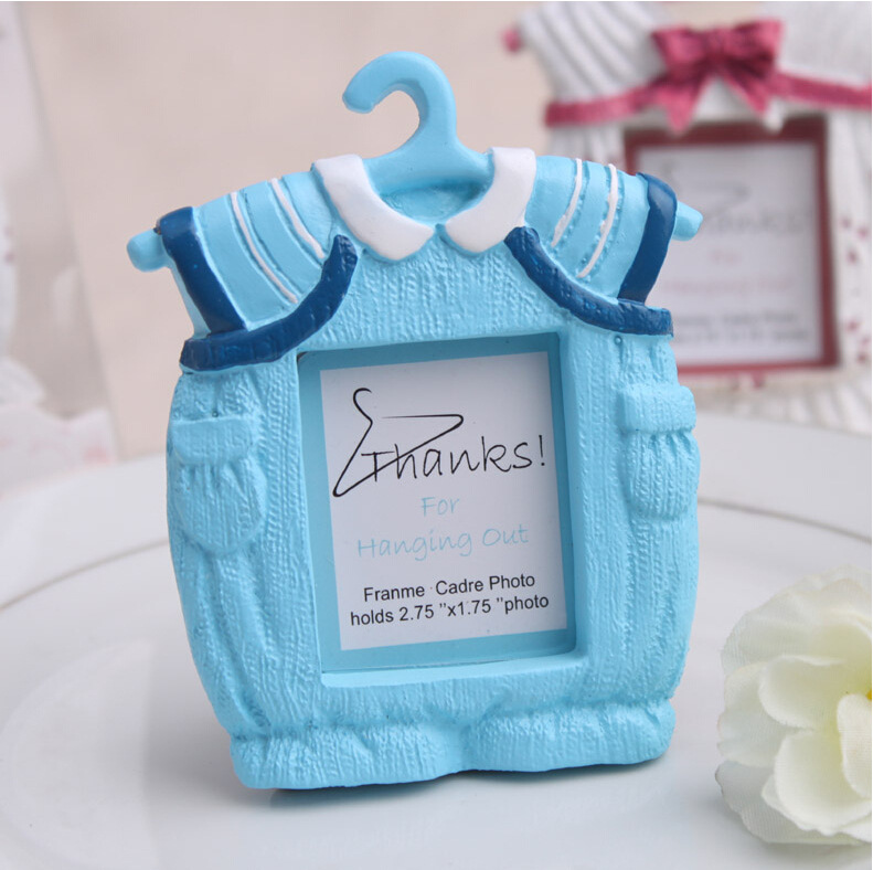 Free Shipping Pink/Blue Cute Clothes Baby Birthday Photo Frame Souvenir  Home Decoration Accessories Baby Shower Favor Gifts