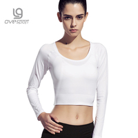 Ovesport Sexy Short Sport Shirts Yoga Women Long Sleeve Tops Quick Dry Solid Fitness Tights Tank Tops Running Gym Backless Shirt