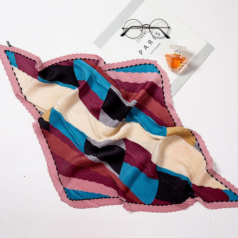 Women Small Silk Square Scarf Crinkle Hair Scarfs For Ladies Pleated Scarves Print Female Foulard Neckerchief