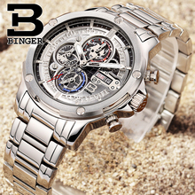 BINGER Fashion Chronograph Sport Mens Watches Top Brand Luxury Military Stainless Steel Strap Quartz Watch Relogio 2017