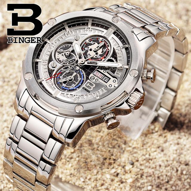 BINGER Fashion Chronograph Sport Mens Watches Top Brand Luxury Military Stainless Steel Strap Quartz Watch Relogio 2017