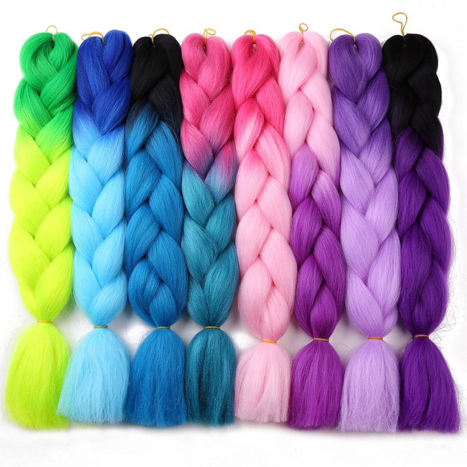 MoKoGoddess Ombre Kanekalon Braiding Hair 24 Inch 100g/piece Synthetic Crochet Hair Extensions Bulk Hair ...