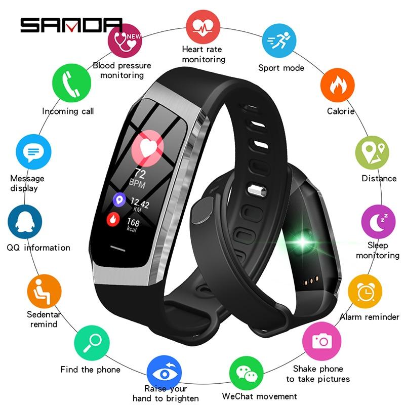 SANDA E18 Smart Watch IP67 Waterproof Heart Rate Monitor Blood Pressure Bluetooth Men Women Smartwatch For