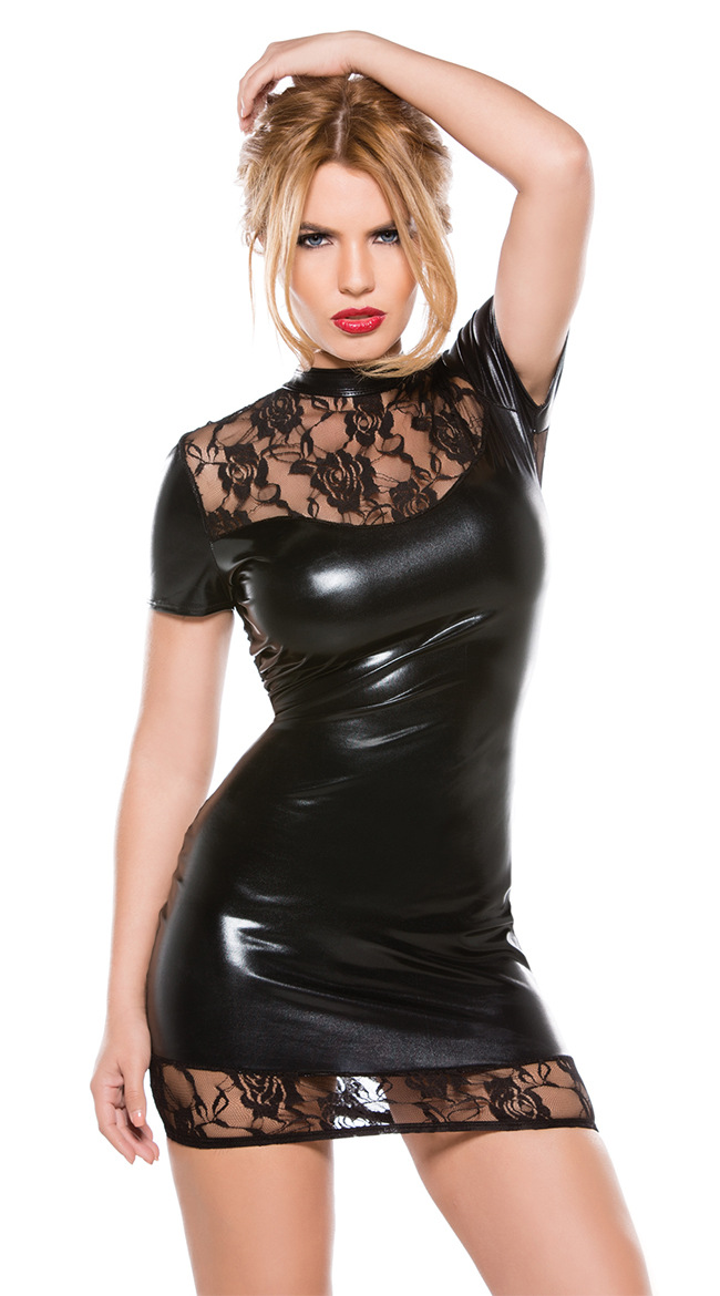 Dresses Sous Vetement Femme Sexy Costumes Latex Dress Black Lace Catsuit Night Club Wear Langerie Porn Pole Dance Dresses Faux Leather