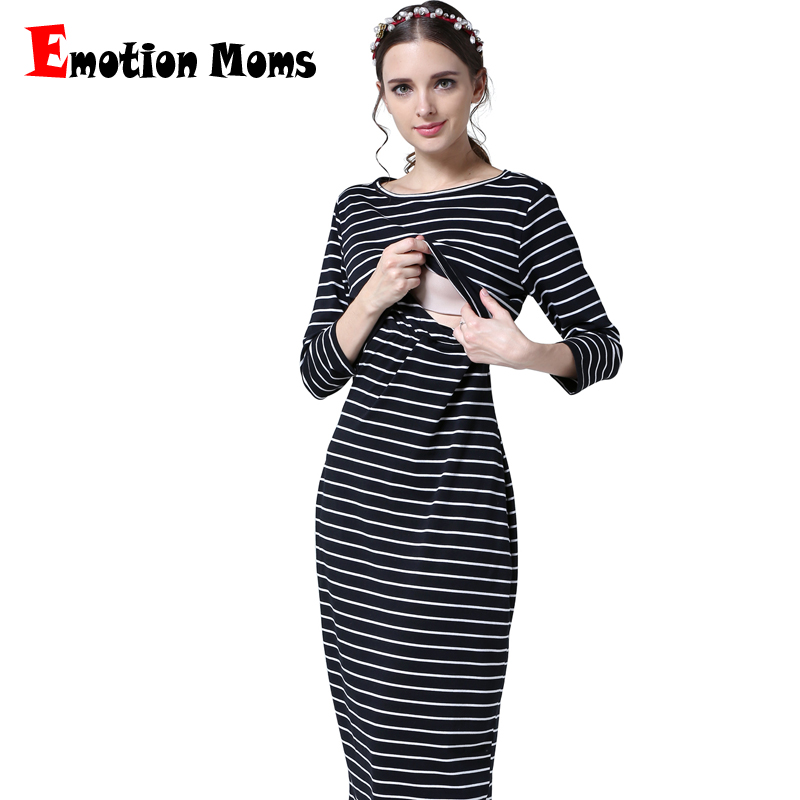 Emotion Moms New Striped maternity clothes maternity dresses pregnancy clothes for Pregnant Women nursing Breastfeeding Dresses