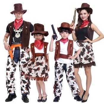 2019 ליל כל הקדושים נשים גברים תלבושות ילדים בני בנות קאובוי תלבושת תחפושת קאובוי קוספליי תלבושות ילדי מסיבת רודיאו פראי מערב