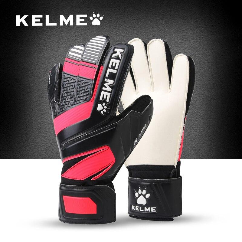 KELME Kids Men goalie soccer gloves thicken full latex Foam professional training football gloves 5 finger save guard