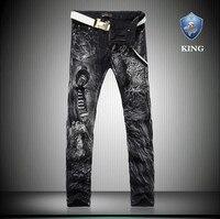 Hiver Chaud Épais Hommes Skinny Jeans Avec Imprimé Léopard Mince Fit Mi Taille Droite Noir Jeans pour Hommes Punk Desinger Style