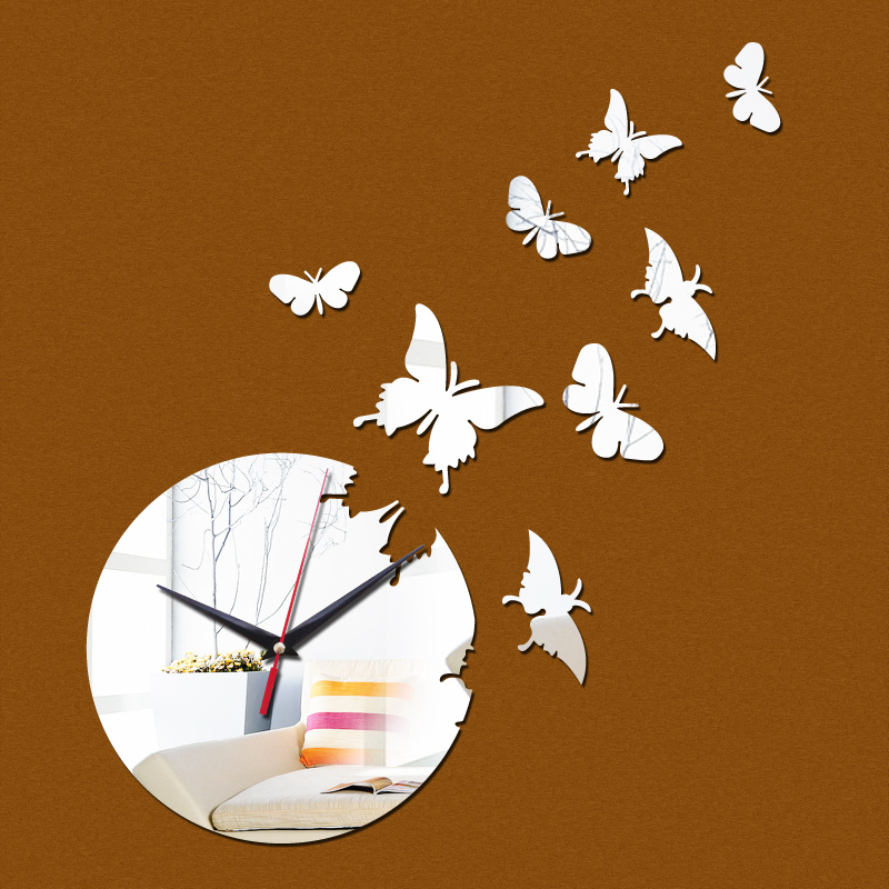 promotion diy wall stickers clock multi piece package quartz living room Europe acrylic mirror butterfly 3D clocks