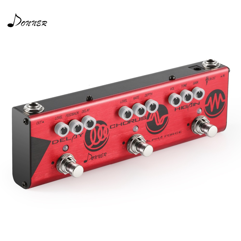 Donner Multi Guitar Effect Pedal Alpha Force 3 tüüpi efektid Delay - Muusikariistad