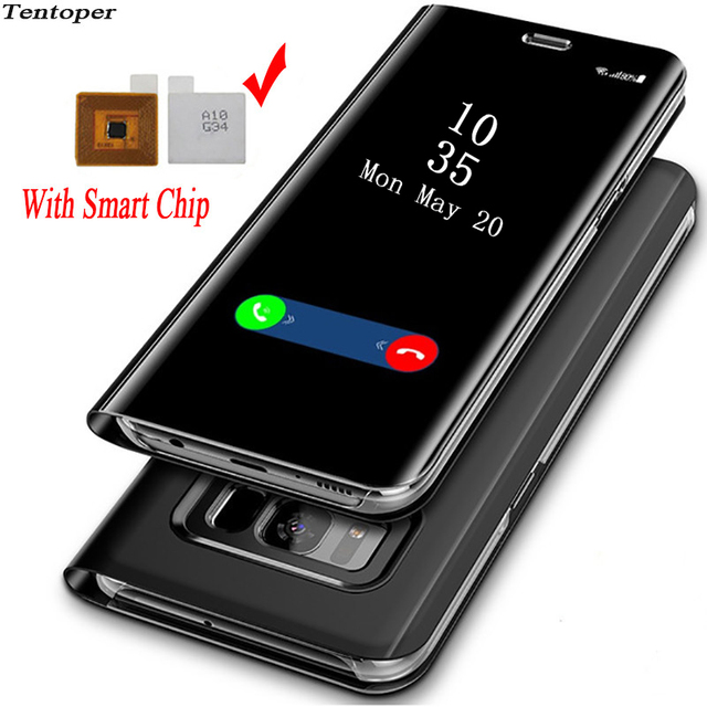 online retailer fa38d f6275 US $26.53 25% OFF|Touch Flip Stand Case For Samsung Galaxy S8 S9 Plus S6 S7  Edge Smart Chip Clear View Cover For Samsung Note 8 Note 5 Phone Case -in  ...