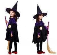 Halloween Trang Phục Trẻ Em Trẻ Em Gái Phù Thủy Trang Phục Cosplay Hiệu Suất Quần Áo Cloak mũ nón Tuyết Trắng Kid Đảng Dress