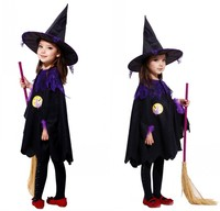 Halloween Costumes Children Kids Girl Witch Cosplay Costume Performance Clothes Cloak Hat Snow White Kid Party