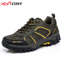 2016 Men Mesh Sneaker Hiking Shoes Men Lace Up Breathable Climbing Shoes Man Cross Country Running