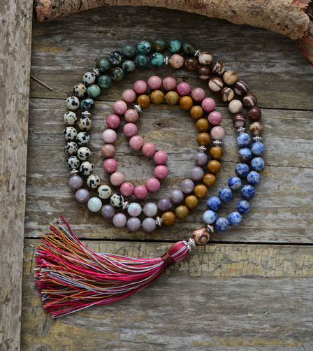 Long Tassel Chain Beads Necklace Necklace Yoga Pendant 7 Chakra Necklace