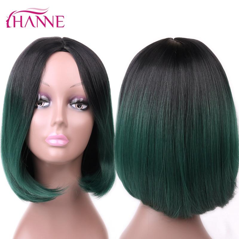 HANNE Afroamerikansk Bob Paryk Kort Axel Längd Ombre Grå Lila Grön - Syntetiskt hår - Foto 4