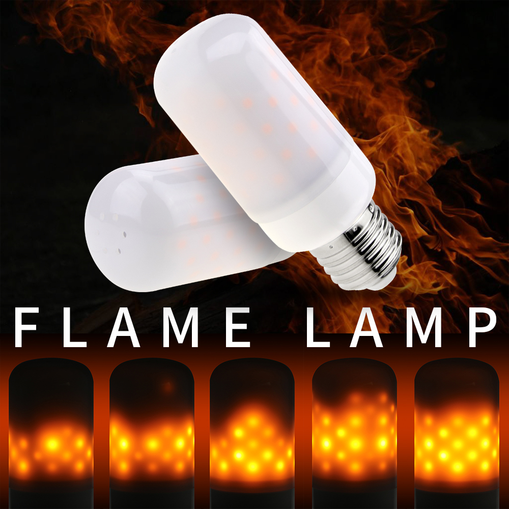 LED Flame Lamp E27 Led Dynamic Flame Effect Bulb E14 Candle Light E26 Creative Emulation Fire Burning 63leds Festival Essential