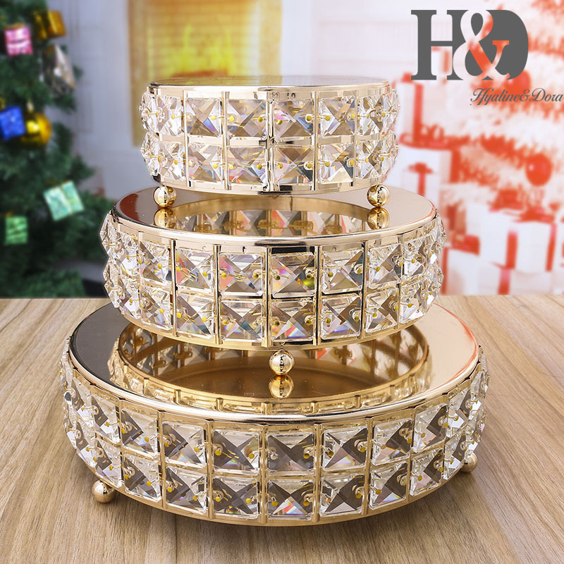 H D 3 Tiers Wedding Cake Stand Glass Metal Cupcake Plate with Crystal Dessert Pedestal Party