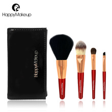 Happy Makeup Brushes Set 4 pcs Wajah Powder Blush Fountdation Eyeshadow Basis Kosmetik Brush Kit Natural Hair Dengan PU Case Bag Red
