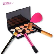 Professional 3Pcs Makeup Brush Set/Women Beauty 15 Color Concealer Cute Pink Face Care Puff High Quality Make Up Tools