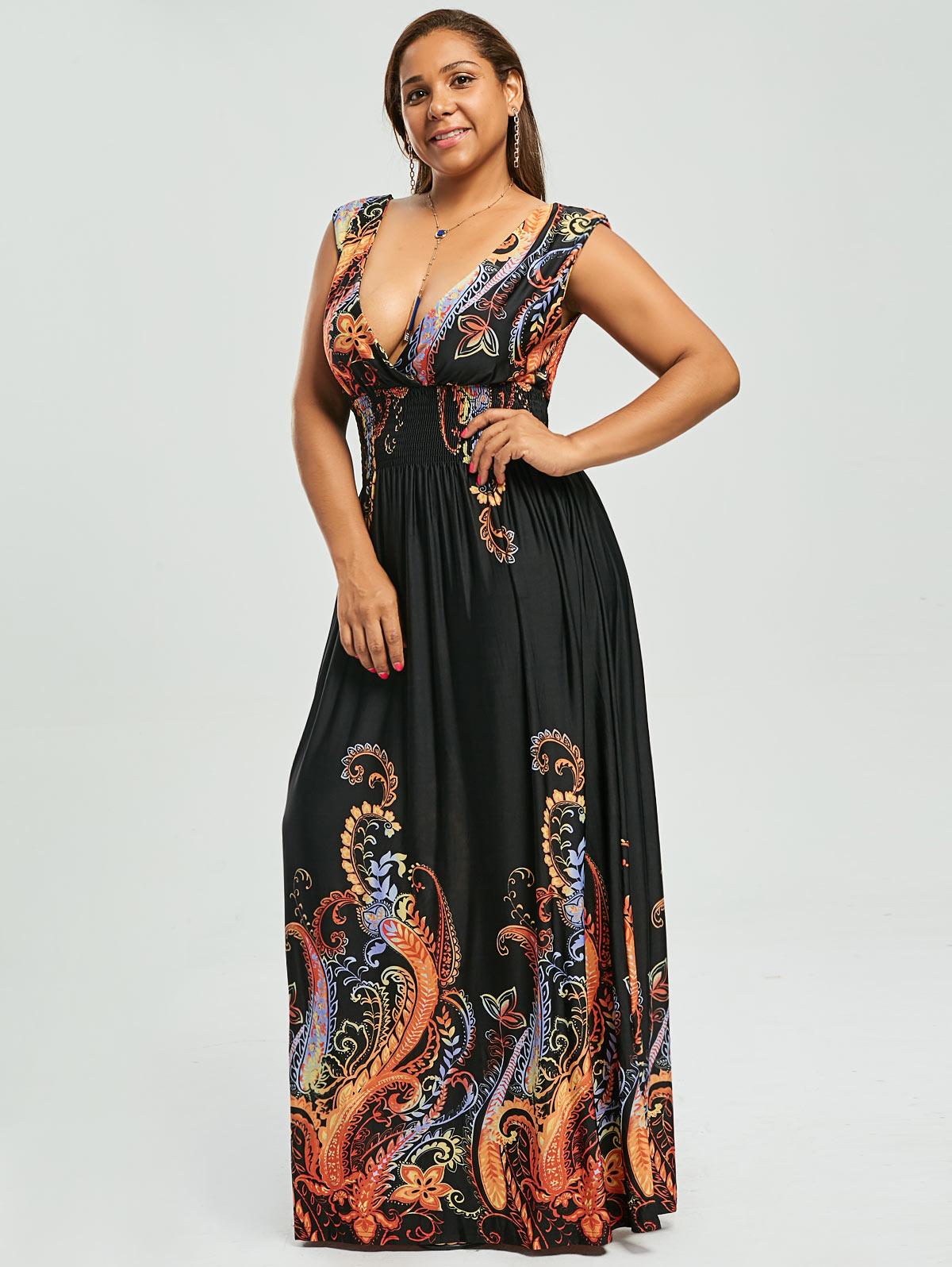 Wipalo Paisley Plus Size Plunge V Neck Maxi Bohemian Dress ...