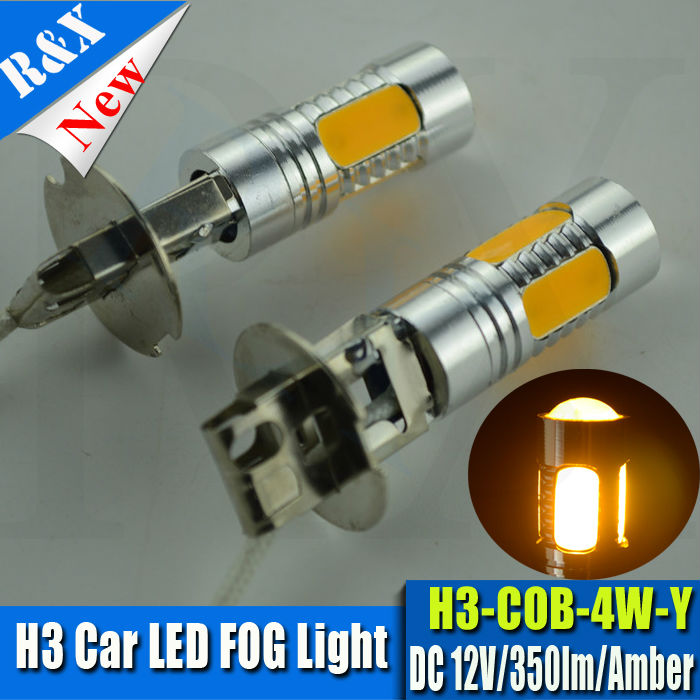 Super Bright yellow No polarity 12V 4W Canbus H3 4w LED Bulb Car Fog Light Daytime running Lamp 350lm new arrival a pair 10w pure white 5630 3 smd led eagle eye lamp car back up daytime running fog light bulb 120lumen 18mm dc12v