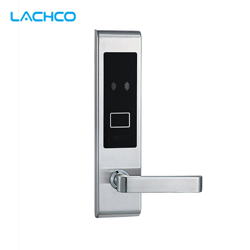 LACHCO Electronic RFID Card Door Lock with Key For Office Apartment Home Hotel Latch with Deadbolt Smart Entry  L16019BS