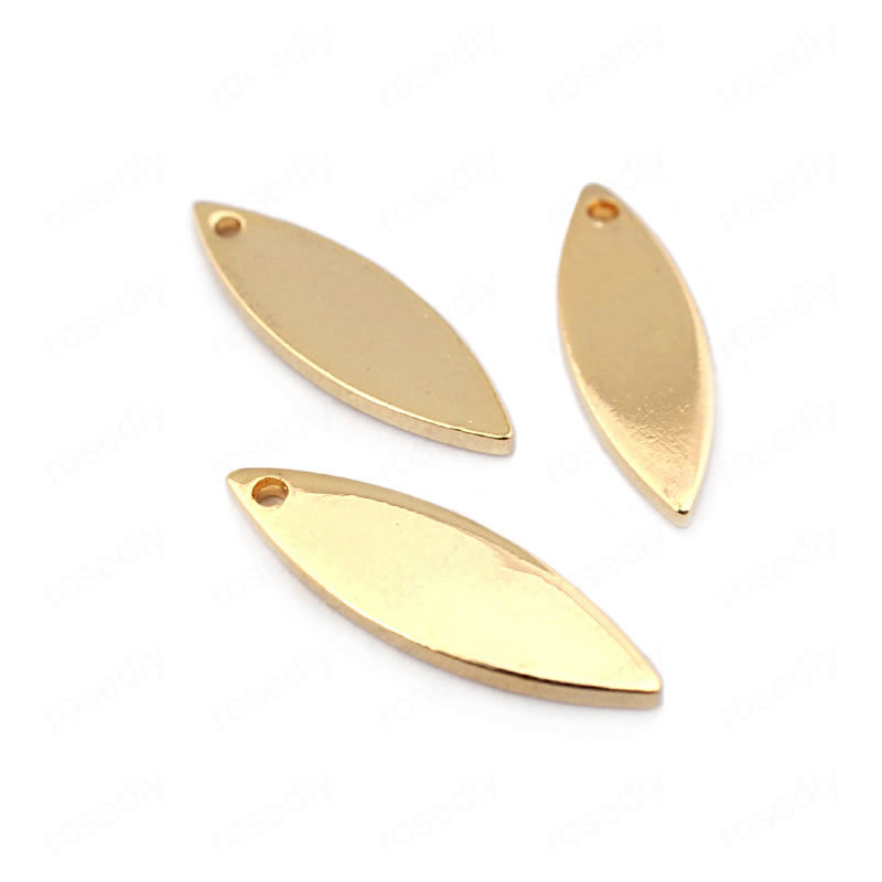 (33643)20PCS 16*5MM thickness 1MM 24K Gold Color Brass Willow Leaf Shape Charms High Quality Diy Jewelry Findings Accessories