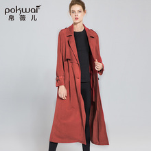 Casual Long Suede Trench Coat Women 2017 High Quality POKWAI Single Breasted Windbreak Wide Waisted Full