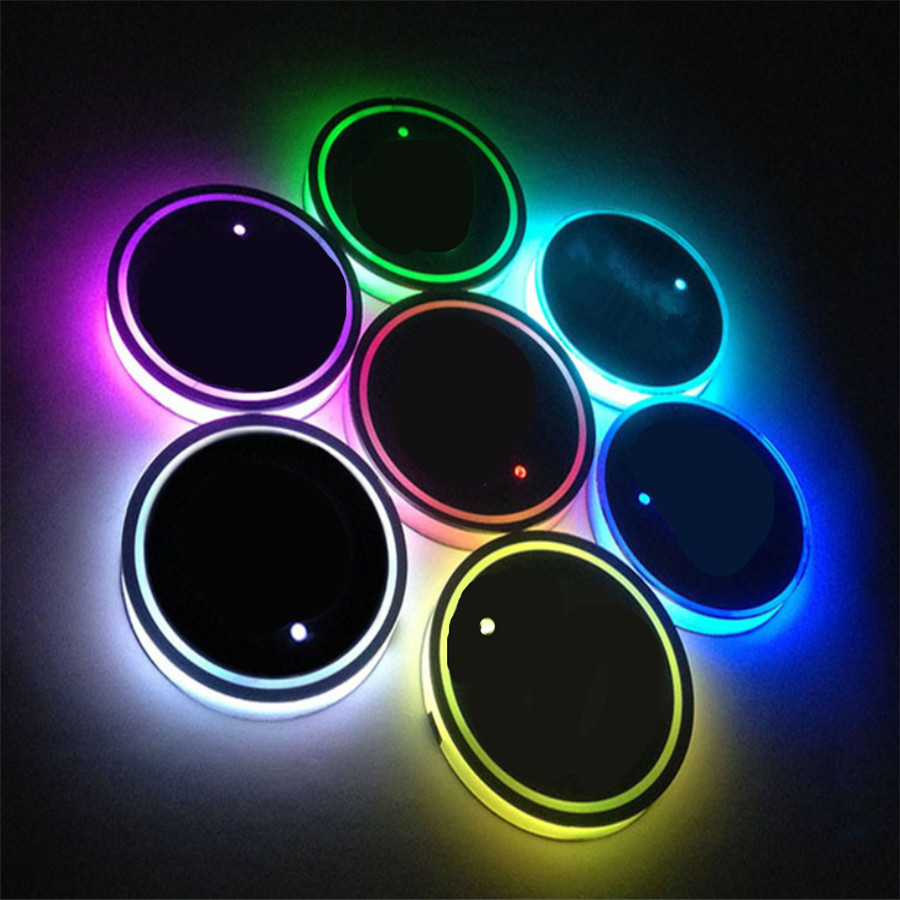 2pcs Universal (65mm)Car Cup Holder Atmosphere Light USB Charge Switchable 7 Colors RGB LED  Bottom Pad Waterproof Bottle Drinks cup holder lights mercedes