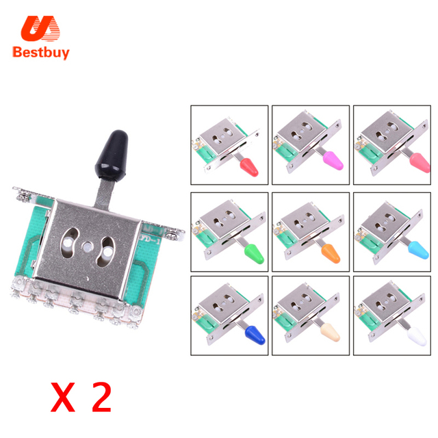 2 Pcs Electric Guitar Pickup 5 Way Selector Lever Switches 7 Wiring ...