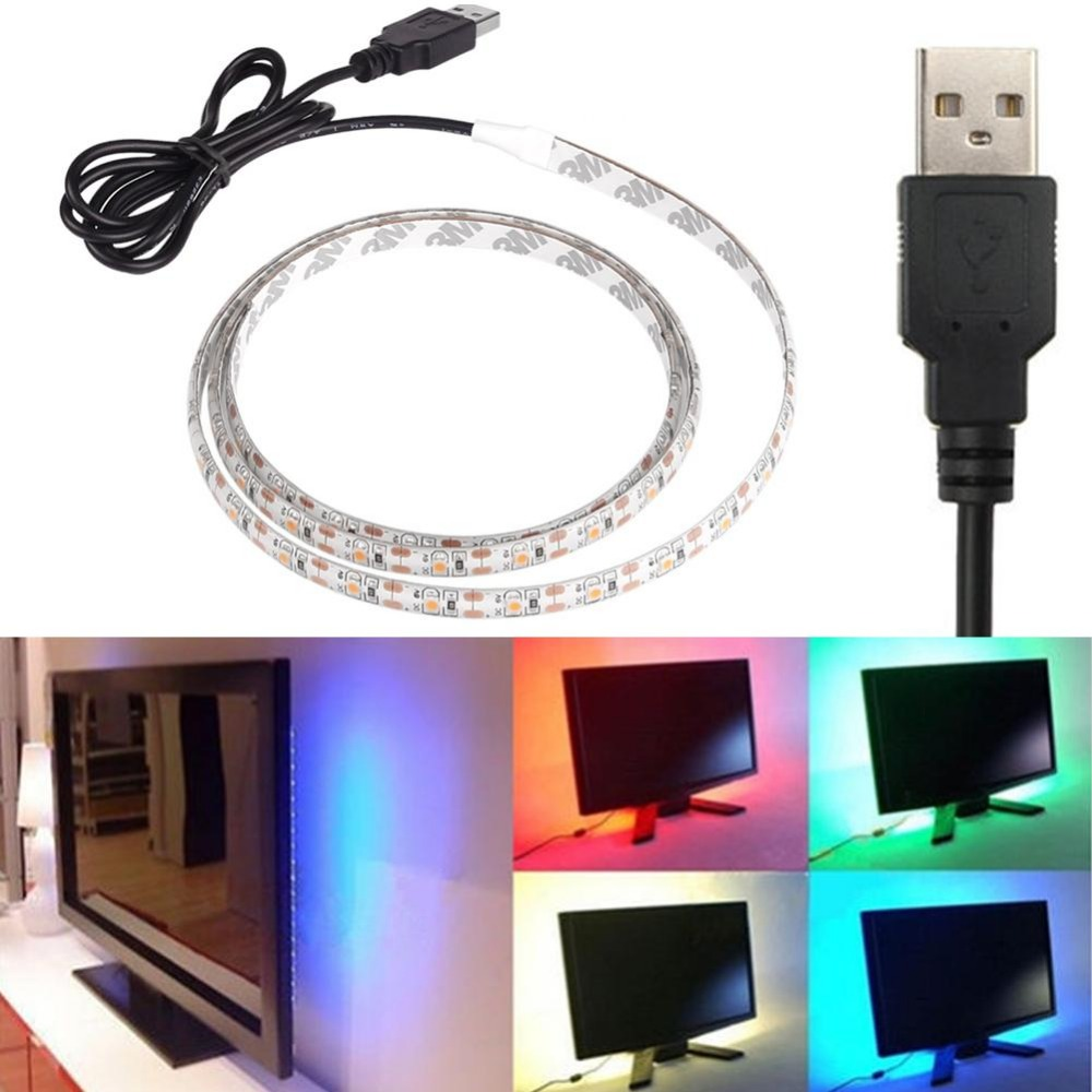 Billiga USB Power LED Strip Highlight RGB Vattentät 3528SMD 5050SMD 0.5 1 2 5M DC 5V Backgroud Lighting Indoor Home Decoration
