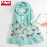 New Fashion Spring Wool Woman Shawl Flower Embroidery Silk Scarf Female Foulard Summer Hollow Scarves Long