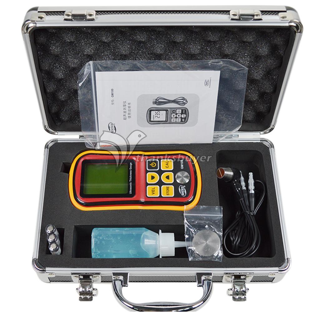 GM100 Portable Digital LCD Ultrasonic Thickness Gauge 1.2-220mm Sound Velocity Meter Tester gm130 digital lcd display ultrasonic thickness gauge metal testering measuring instruments 1 0 to 300mm sound velocity meter