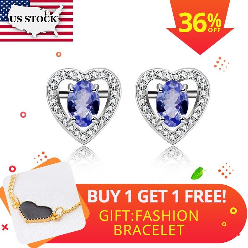 Boucles d'oreilles en Tanzanite naturelle Uloveido pour femmes, argent Sterling 925, bijoux fins en pierres précieuses avec certificat de boîte en velours FR126