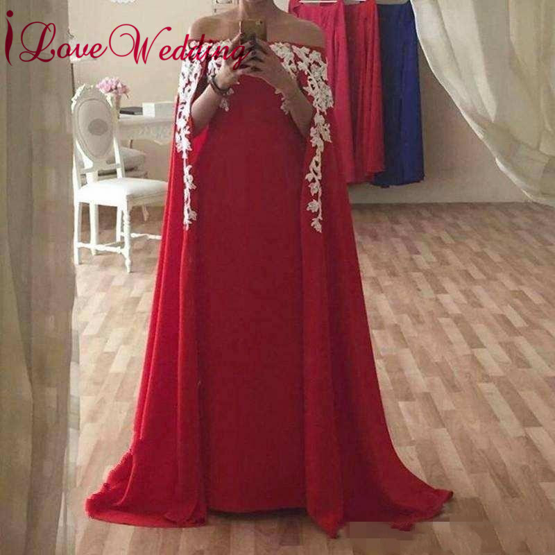 iLoveWedding New Arrival 2019 Boat Neck Red Chiffon Lace Applique Custom made Formal Long   Prom     Dresses