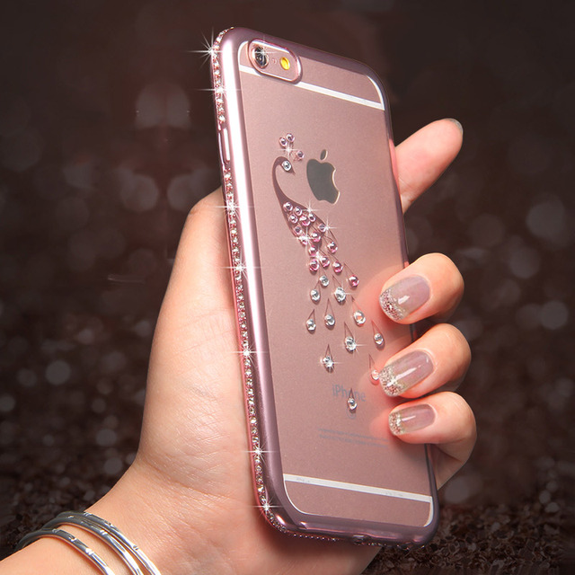 online retailer 88957 178e5 US $1.99 |Fashion Rhinestone Silicone Case For iPhone 6 6S / 6S Plus  Glitter Cute Luxury 3D Diamond Cover Gold Pink i Phone Coque Fundas-in  Rhinestone ...