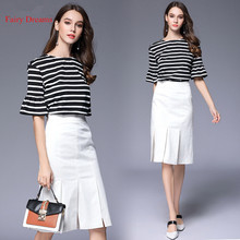 Fairy Dreams 2 Piece Set Women Striped T Shirt Top And White Skirt 2017 New Style Summer Casual Suit Fashion Plus Size Clothing