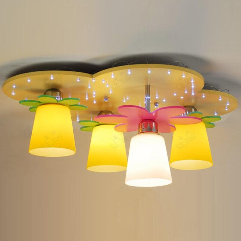 Moderne LED Geel Cloud Slaapkamer Plafond Lampen Kinderen Kid's Studeerkamer Kleurrijke Bloemen Houten Plafondlamp Verlichting-in Plafondverlichting van Licht & verlichting op OUOVO