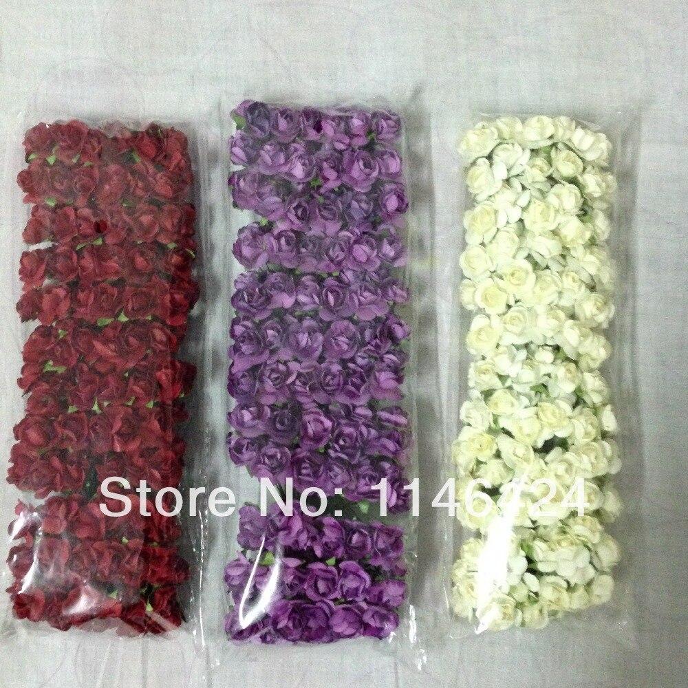 Scrapbook paper decor - 432pieces Lot Mix Colors Small Rose Bouquet Scrapbook Decor Handmade Craft Paper Flowers Wedding Decorations