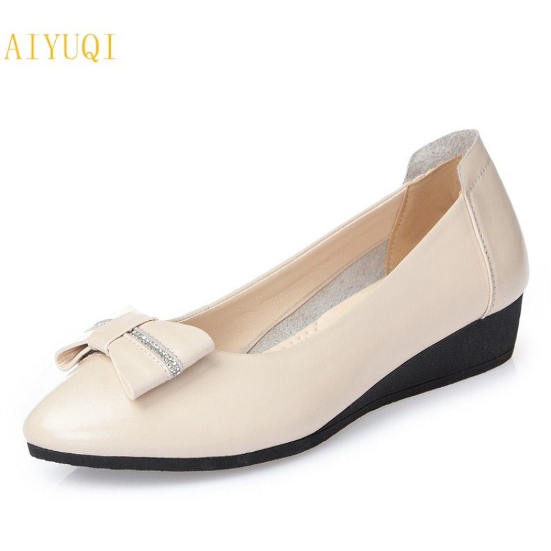 AIYUQI 2018 new women's genuine leather shoes casual flat bottom breathable wear comfortable mother shoes female size 41 42 43 aiyuqi 2018 spring new genuine leather women shoes shallow mouth casual shoes plus size 41 42 43 mother shoes female page 4