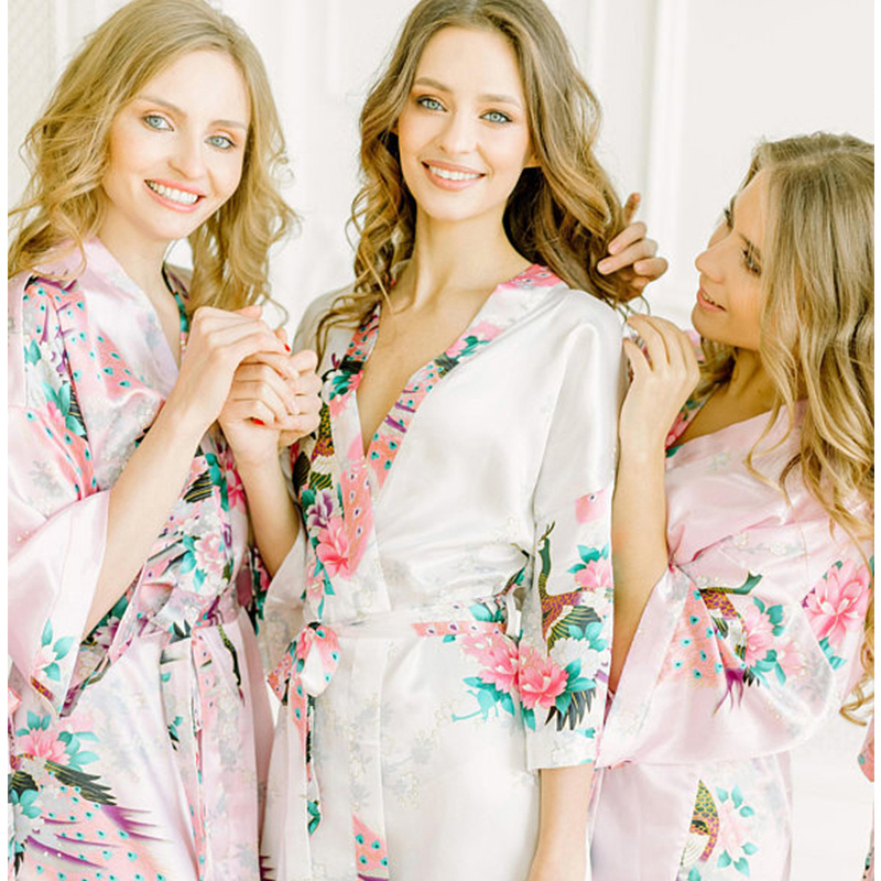 Plus Size XXXL Women Short Satin Robe Printed Floral Nightgown Sexy Kimono Sleepwear Brides Bridesmaid Wedding Dressing Gown